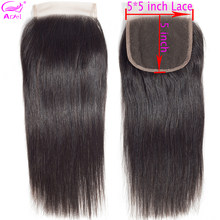 5x5 Lace Closure Straight Transparent Lace Closure Remy Brazilian Hair Swiss Lace Frontal Human Hair Closure 5x5 Closure Ariel(China)