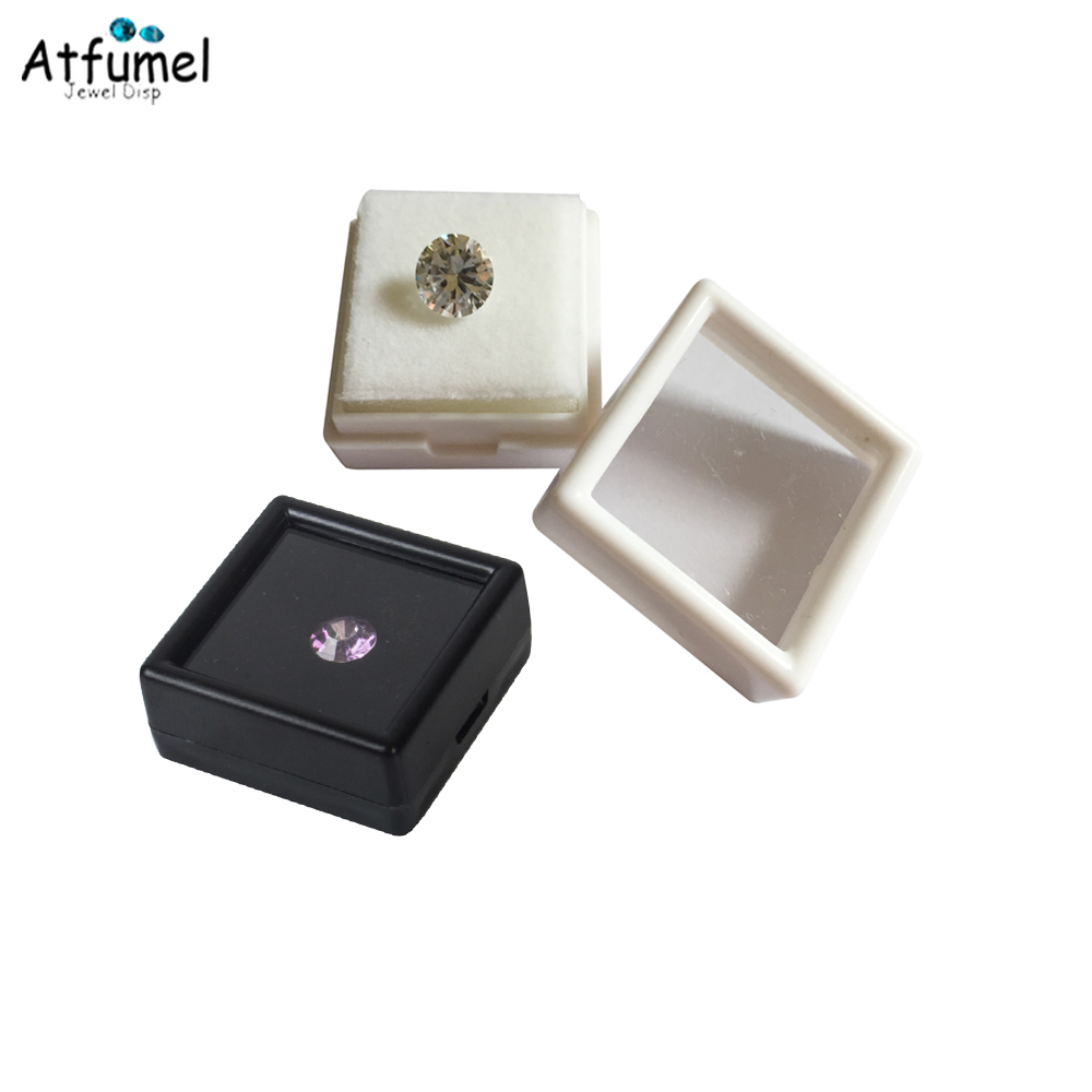 Wholesale 50Pcs Square Plastic White Black Gem Case With Foam Pad Beads Pendant Box Loose Diamond Display Package Box 3*3*2cm