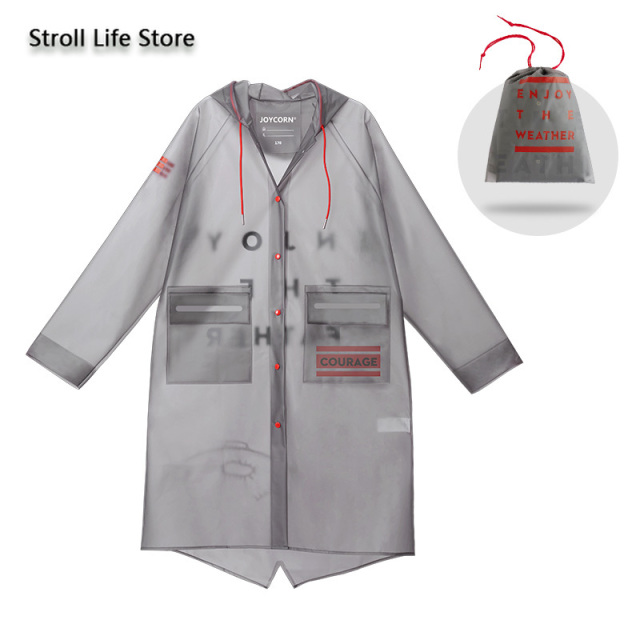 Transparent Long Raincoat Women Travel Hiking Rain Jackets Men Riding Tide Gray Adult Waterproof Rain Poncho Manteau Femme Gift 5