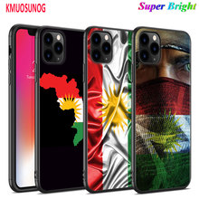 Black Silicone Case kurdistan flag for iPhone 11 11Pro XS MAX XR X 8 7 6S 6 Plus 5S Gloss Phone Cover