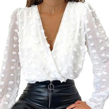 Women Deep V Neck Top White Jacquard Fashion Shirt Female Long Sleeve Chic Shirt Sexy Polka Dot Solid Color Mesh Blouses