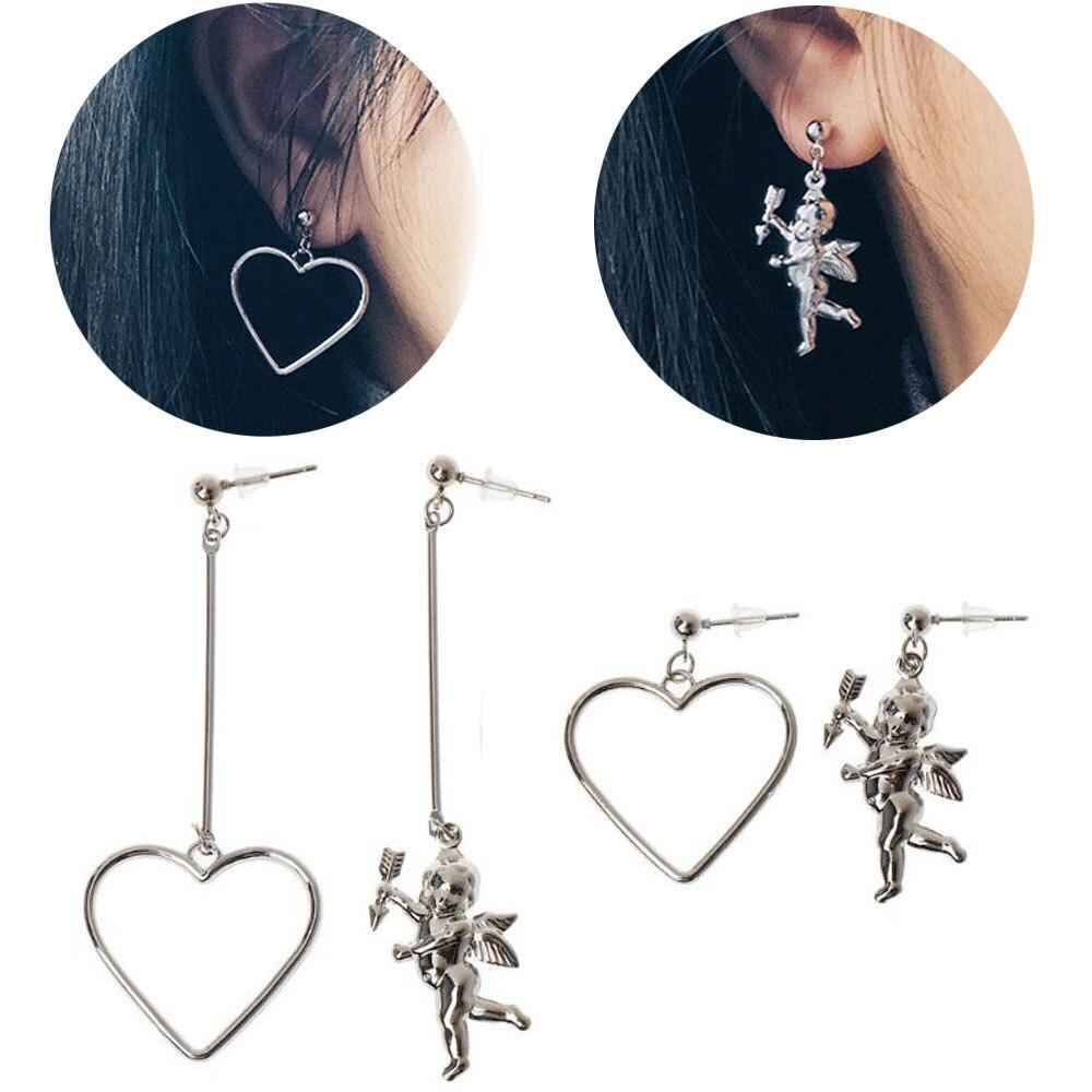 Angel Heart Asymmetric Earring Long Chain Pendant Metal Tassel Drop Earring Fashion Jewelry Exquisite Dangle Earrings