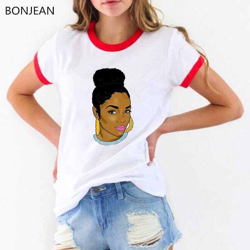 Cool Melanine Zwart Meisje Print Vrouwelijke T-shirt Harajuku T-shirts voor Vrouwen Zomer Hiphop T-shirt Tee Shirt Femme Vogue tops
