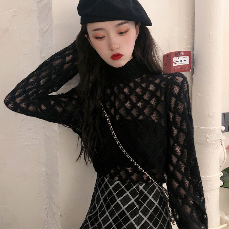 Sexy Women T Shirt See Through Transparent Mesh Lace Tops Long Sleeve Sheer Slim Ladies Turtleneck T-Shirt New Hot Women Tshirt