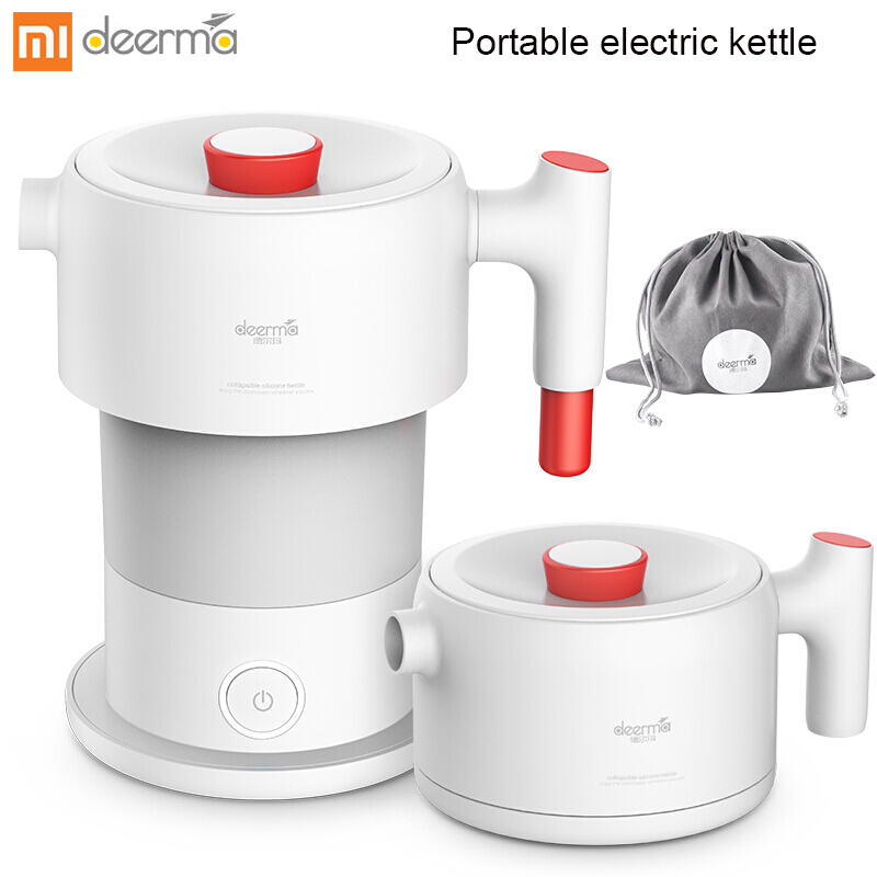XIAOMI MIJIA Deerma Portable Electric Kettle Kitchen Appliances Electric Kettle Boil Water Travel Foldable 0.6L Coffee Teapot