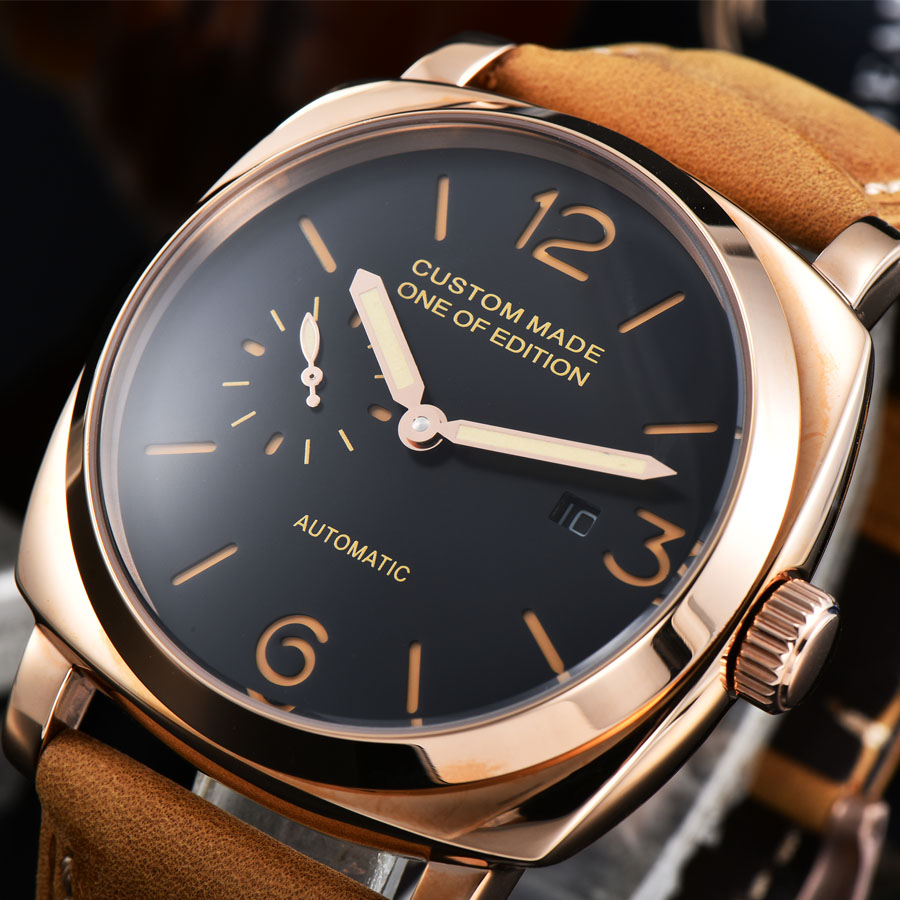 watch men date automatic mechanical watch Luminous waterproof 316L Solid stainless steel pvd Leather 47MM NH211