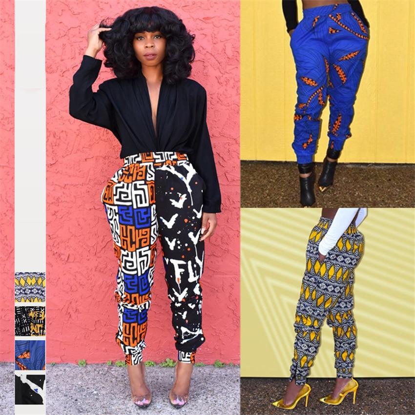 African Ladies Clothes 2019 Autumn Dashiki Print Trousers Elastic Waist Ankara Fashion High Harem Pant African Dresses for Women