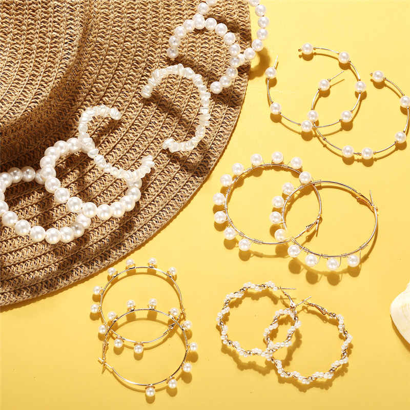 17KM Oversize Pearl Hoop Earrings For Women Girls Big Earrings Unique Circle Earring 2019 New Brinco Statement Fashion Jewelry