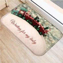 Świąteczny dywan Santa dywan flanelowy antypoślizgowy dywan mata kuchenna dekoracja wnętrz różne Style boże narodzenie mata podłogowa 40x60cm ..