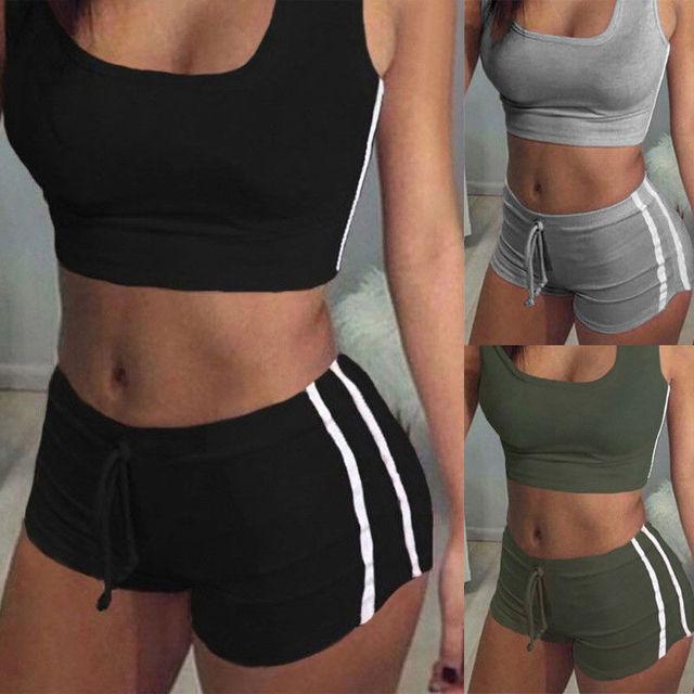 Sexy Women 2PCS Yoga Set Female Sleeveless Tank Top Bra Fitness Shorts Running  Gym Sports Clothes Suit 2