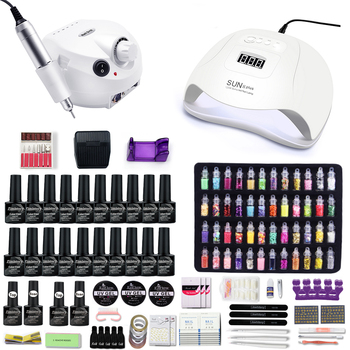 10&20 Color Gel Varnish Nail Set With 120W UV LED Lamp And 35000 RPM & 20000 drill machine For nail art set