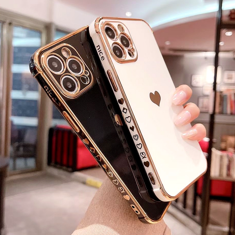 Soft Electroplated Love Heart Phone Case For iPhone 11 12 13 Pro Max XS X XR 7 8 Plus Mini SE 2020 Shockproof Bumper Back Cover