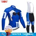 Winter Thermische Fleece Radfahren Kleidung Herren Lustige Lange 9D Set MTB Uniform Ropa Ciclismo Bike Wear Fahrrad Kleidung Radfahren Jersey-in Fahrrad-Sets aus Sport und Unterhaltung bei