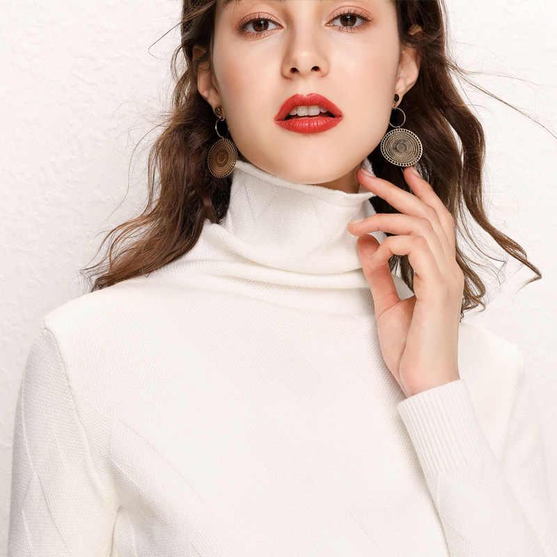 새로운 가을 겨울 캐시미어 블렌드 스웨터 여성의 높은 칼라 풀오버 두꺼운 솔리드 컬러 스웨터 느슨한 니트 스웨터 와일드 풀오버