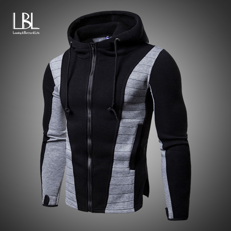 Sweatshirts Mens Tracksuit Autumn Casual Patchwork Slim Fit Hooded Sportswear Winter Hoodies Mens zipper Warm Outdoor Sports Top