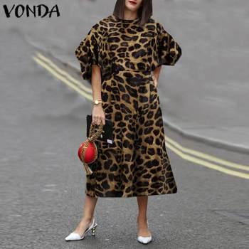 Party Dress Women Summer Sundress Vintage Puff Sleeve Leopard Printed Mid-Calf VONDA Plus Size Casual Vestidos