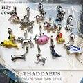 Französisch Hund Terrier Vintage Tiere Bulldog Charms Anhänger 925 Sterling Silber Europa Trendt Schmuck Für Frauen & Männer