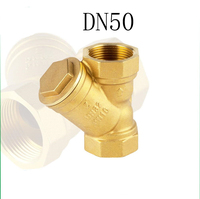 DN50 Brass Water Filter Valve Female Thread 2 Y Typed Strainer Filter Valve Connector for Water Oil Separation
