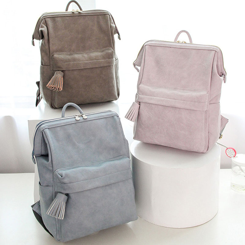 Myshow Bags PU Leather Backpack Diaper Bag  Mummy Bag Travel Nursing Bag Multiple Nappy Bag For Baby Stroller  With Free Gift