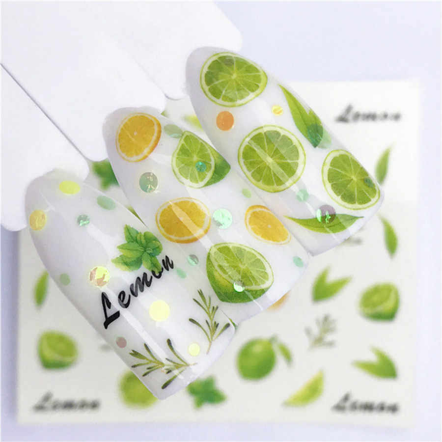 1Pcs Fashion Lime Fruit Kerst Acryl Poeder Poly Gel Nagellak Nail Art Decorations Crystal Manicure Kit Nail Accesorios