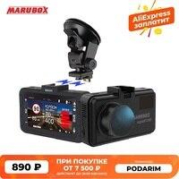 MARUBOX 3 in 1 Radar Detektor mit GPS Wifi Updates Auto DVR HD2560 * 1440P Magnetische Halterung Design und russland Stimme Warnung