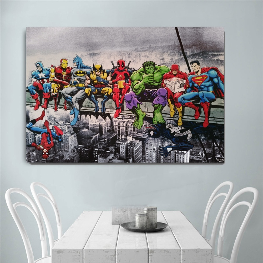 Superhero Avenger Flash Cartoon Canvas Painting Art Print Poster Picture Wall Painting Home Decor