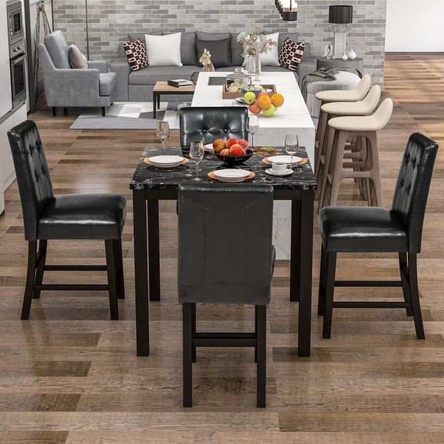 5 Piece Dining Room Set with Laminated Faux Marble Top 4