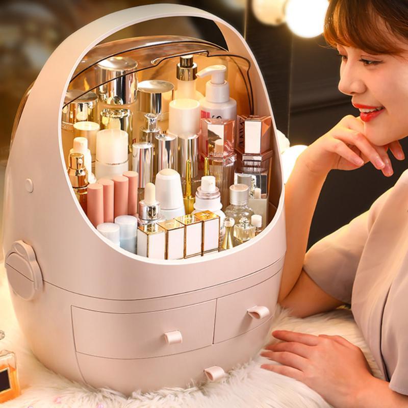 Tragbare Frauen Schönheit Make-Up Organizer Box Staubdicht Kosmetische Lagerung Schublade Machen Up Lagerung Schmuck Veranstalter Make-Up Fall