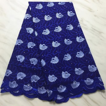 5Yards/pc Beautiful royal blue african cotton fabric embroidery swiss voile dry lace for clothes BC108-5
