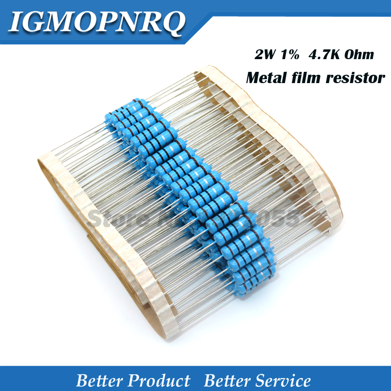 20pcs High Quality 2W Metal Film Resistor Resistance 1% 2W-4.7K 4.7 Kohm Free Shipping