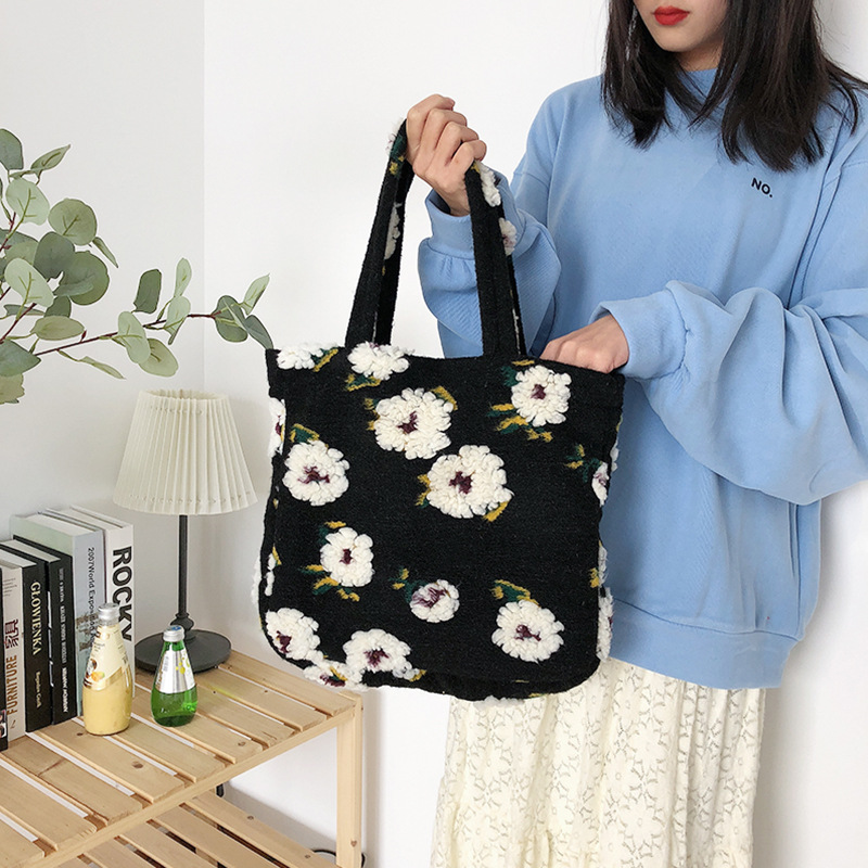 Youd Cute Totes Winter New Fashion Simple Plush Flower Lunch Bags Portable Casual Shoulder Bag Embroidery Book Shopping Handbag