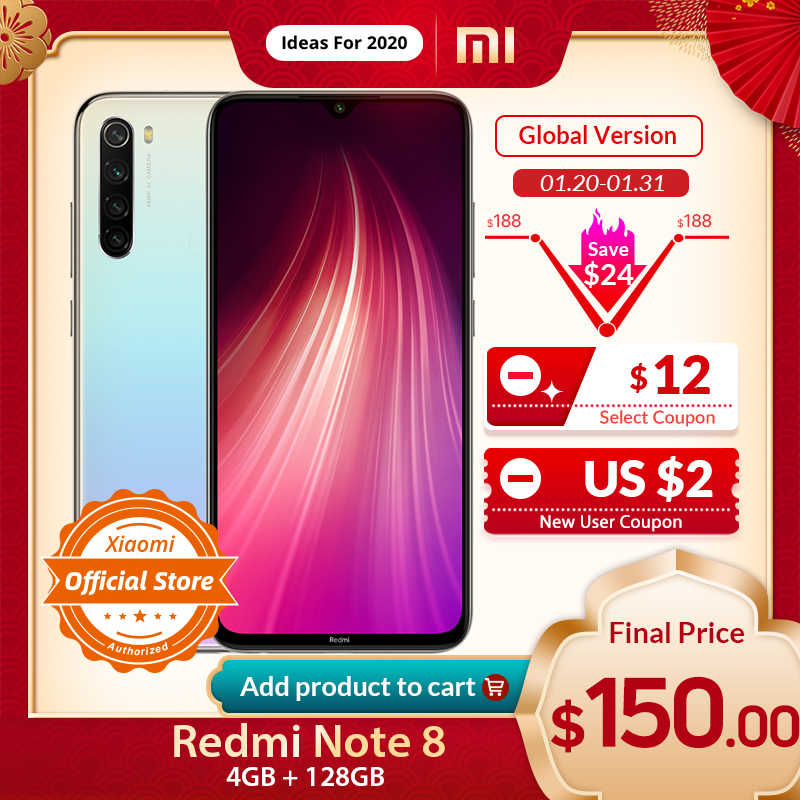 הגלובלי גרסת Xiaomi Redmi הערה 8 4GB 128GB Smartphone 48MP Quad מצלמה Snapdragon 665 אוקטה Core 4000mAH 6.3 ''דוט זרוק תצוגה