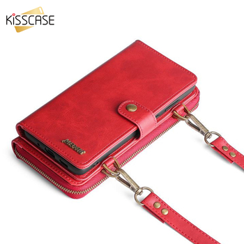 KISSCASE Shoulder Lanyard Bag Case For Samsung A71 A50 A51 S20 S20 Plus S10 A20 A30 A40 A70 S9 Note10 S20Ultra Wallet Strap Case