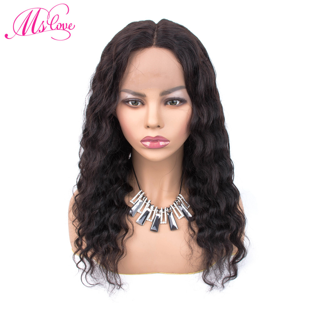Ms Love Deep Wave Wig Human Hair Lace Parting Remy Brazilian Wigs For Black Women 18 Inch