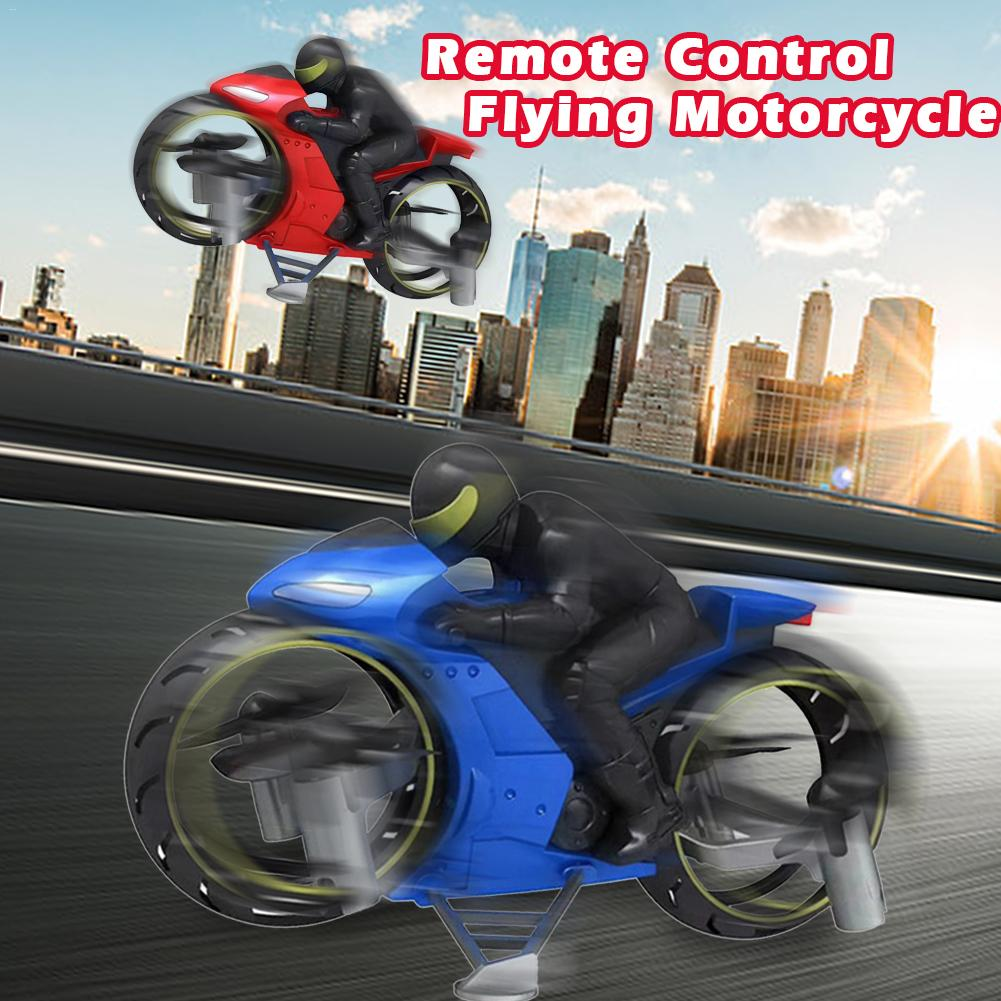 2 In 1 Remote Control Motorcycle Land And Air Dual Mode RC Motorcycle Quadcopter Stunt Flip Motorcycle Toy With LED Light