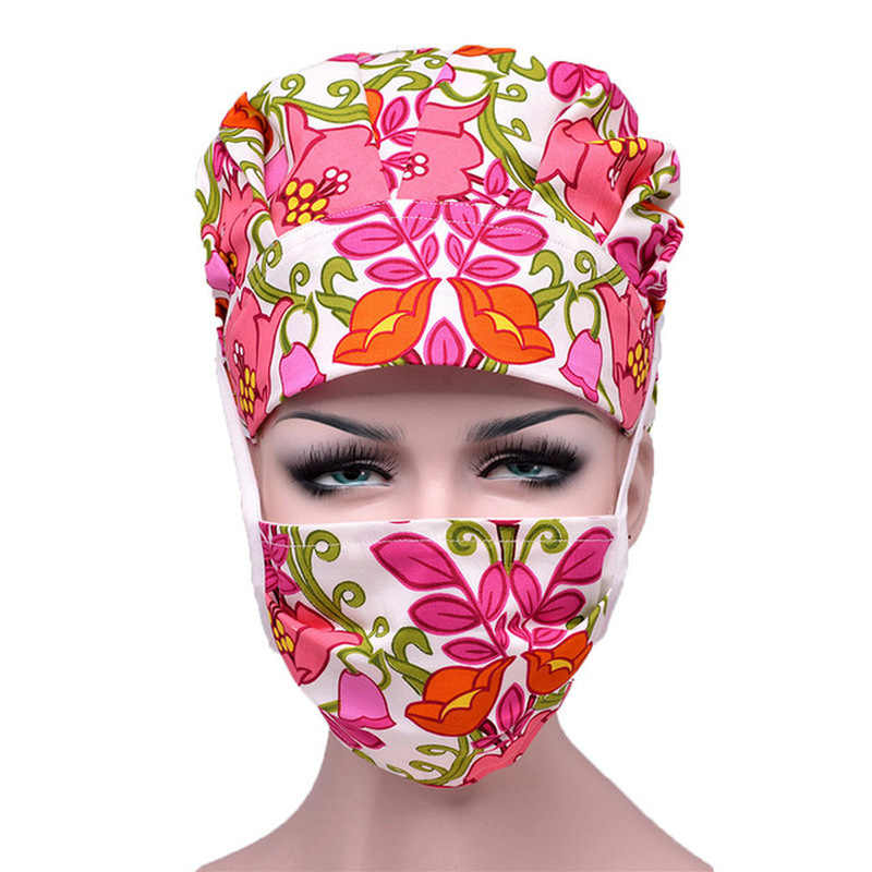 JoyJay 2PCS Scrub Bouffant Turban Cap with Sweatband Scrub Hat for Womens and Mens Unisex Adjustable Hair Cover Fashion Butterfly Print Hair Accessories