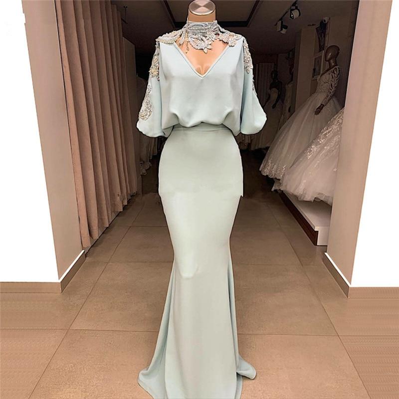 Formal Muslim Evening Dresses 2019 Mermaid V-neck Appliques Beaded Dubai Saudi Arabic Long Evening Gown