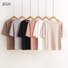 JCGO Women Summer 100% Cotton T Shirt Solid Color Casual O neck Short Sleeve Tsh