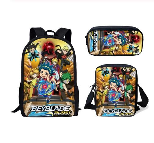 Fashion Beyblade Burst Game 3Pcs Set Backpack 3D Anime Print Student School Bag Rucksack Teenager Schoolbags Softback Mochilas