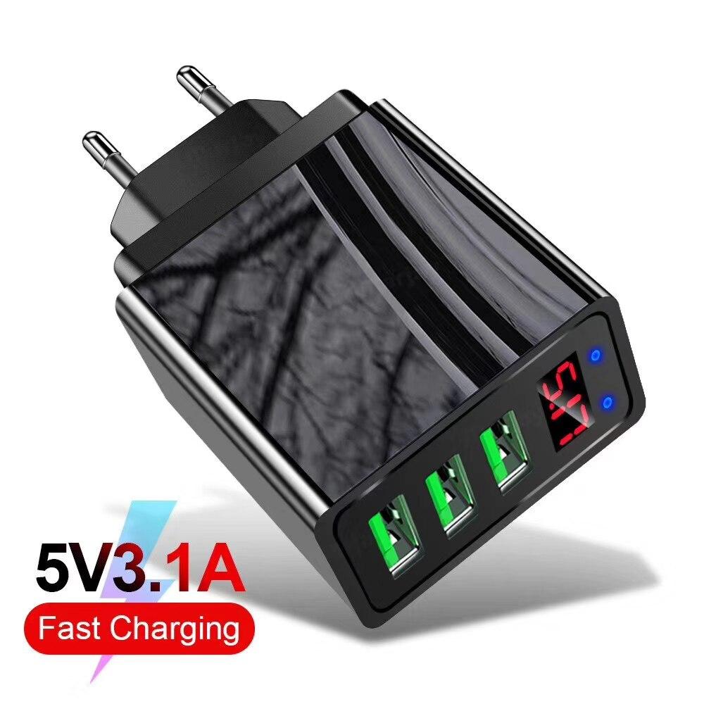 5V 3,1 EINE Led-anzeige USB Ladegerät Für Huawei Mate 30 P30 EU Stecker Lade Adapte 5A Typ C kabel Für Samsung Xiaomi Schnelle Ladegerät