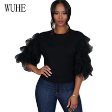 WUHE Black Mesh Stitching Sleeve T-shirts Elegant O-neck Hollow Out Summer Casual Femme Top Women New Fashion Stylish Tops