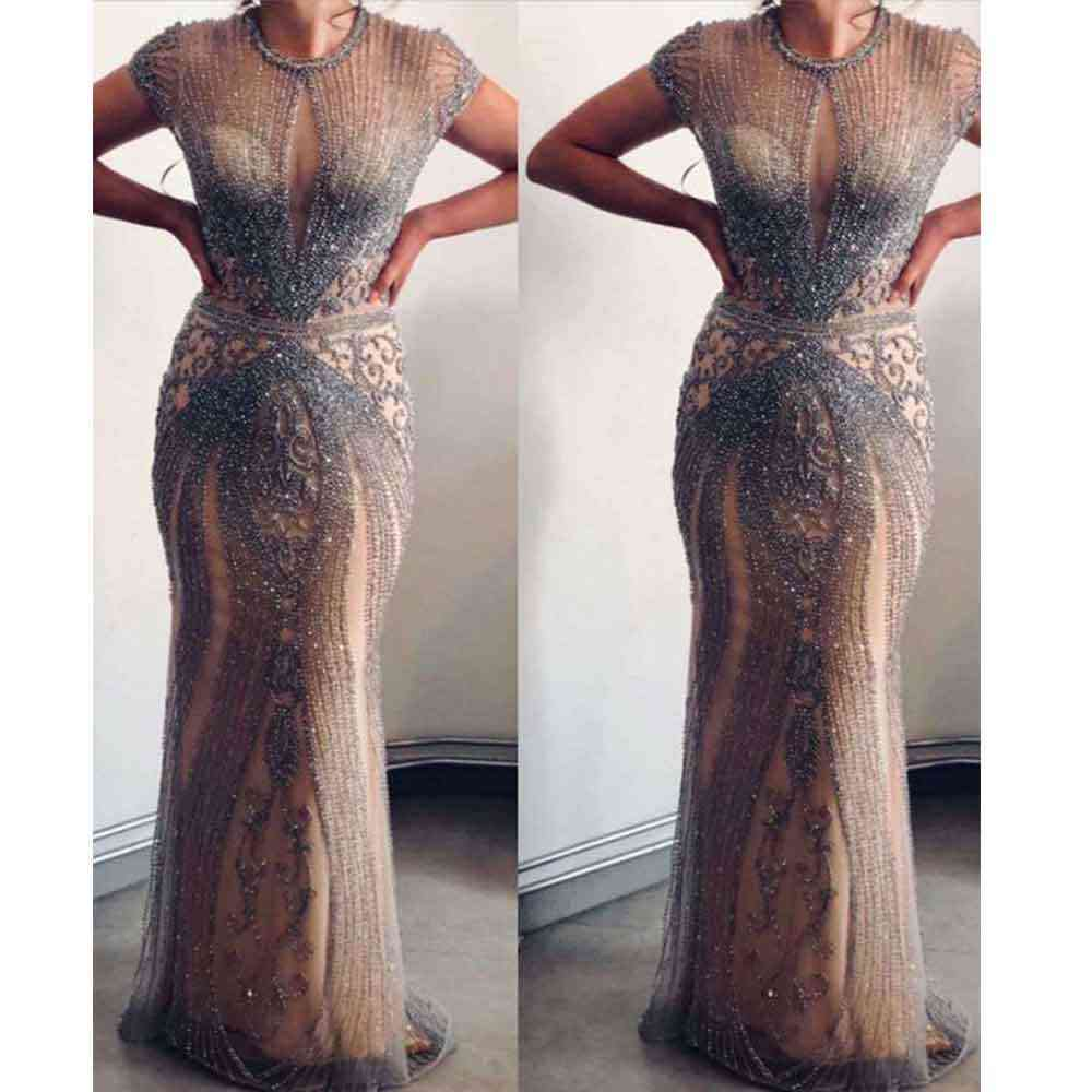 Long Women Mermaid Evening Pageant Dresses Robe De Soiree Sexy Luxury Diamond Even Gown Dubai Prom Dress Plus Size