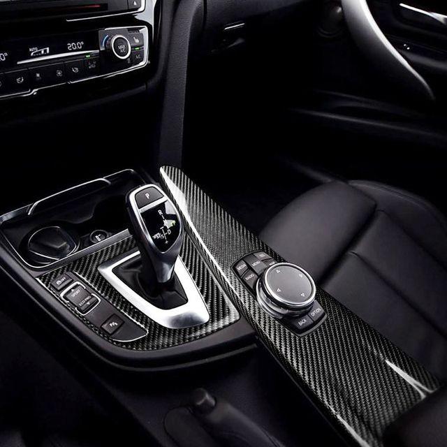 Carbon Fiber Gear Shift Knob Cover Multimedia Button Panel Trim Sticker For BMW