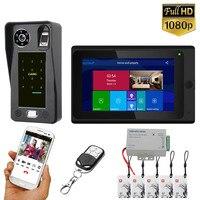 7 inch Wifi Wireless Fingerprint IC Card Video Door Phone Doorbell Intercom System with Wired HD 1080P camera