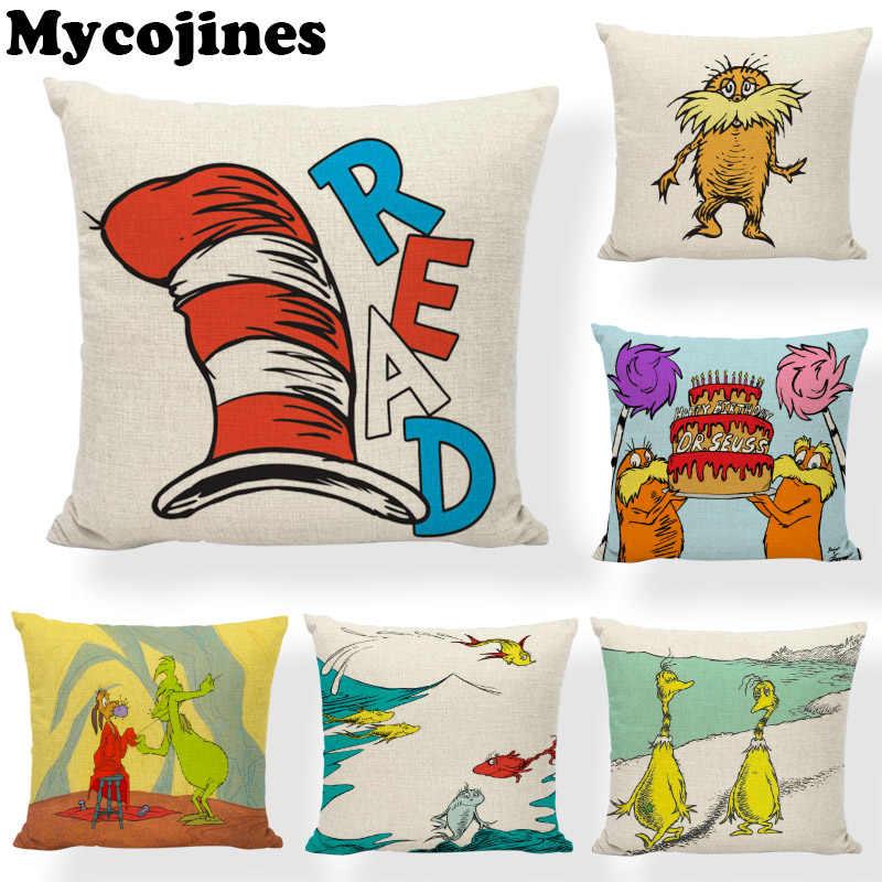 Yüksek Kalite Sevimli Stil Dr. Seuss Yastık Hayvan Ördek Balık Köpek Oturma Odası Kanepe Araba Ev Dekorasyon keten yastık örtüsü