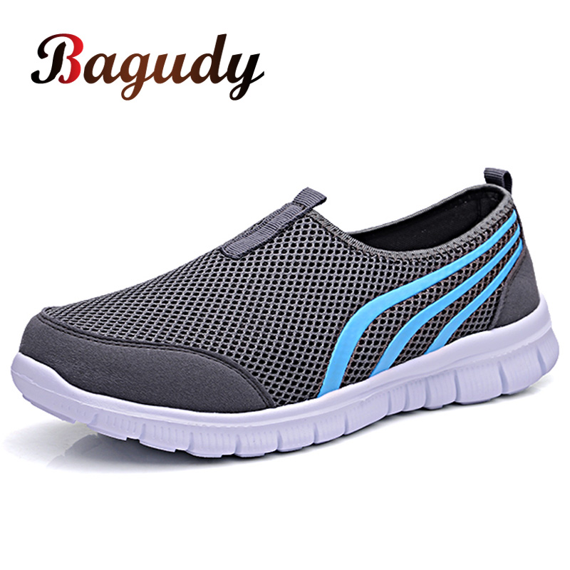 Summer Mesh Men Shoes Sneakers Breathable Flat Shoes Slip-on Sport Trainers Comfortable Lightweight Men Shoes Zapatillas Hombre