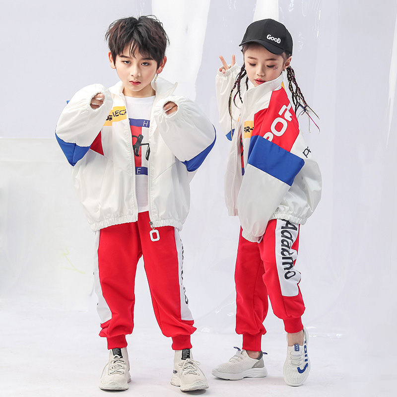 Kid Cool Fashion Hip Hop Clothing High Neck Jacket Top Coat Loose Running Casual Pants For Girls Boys Jazz Dance Costume Clothes