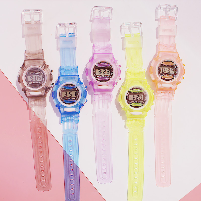Transparent Digital Children's Watch Student Table Korean Version Of The Simple Silicone Strap Sports Kids Watches