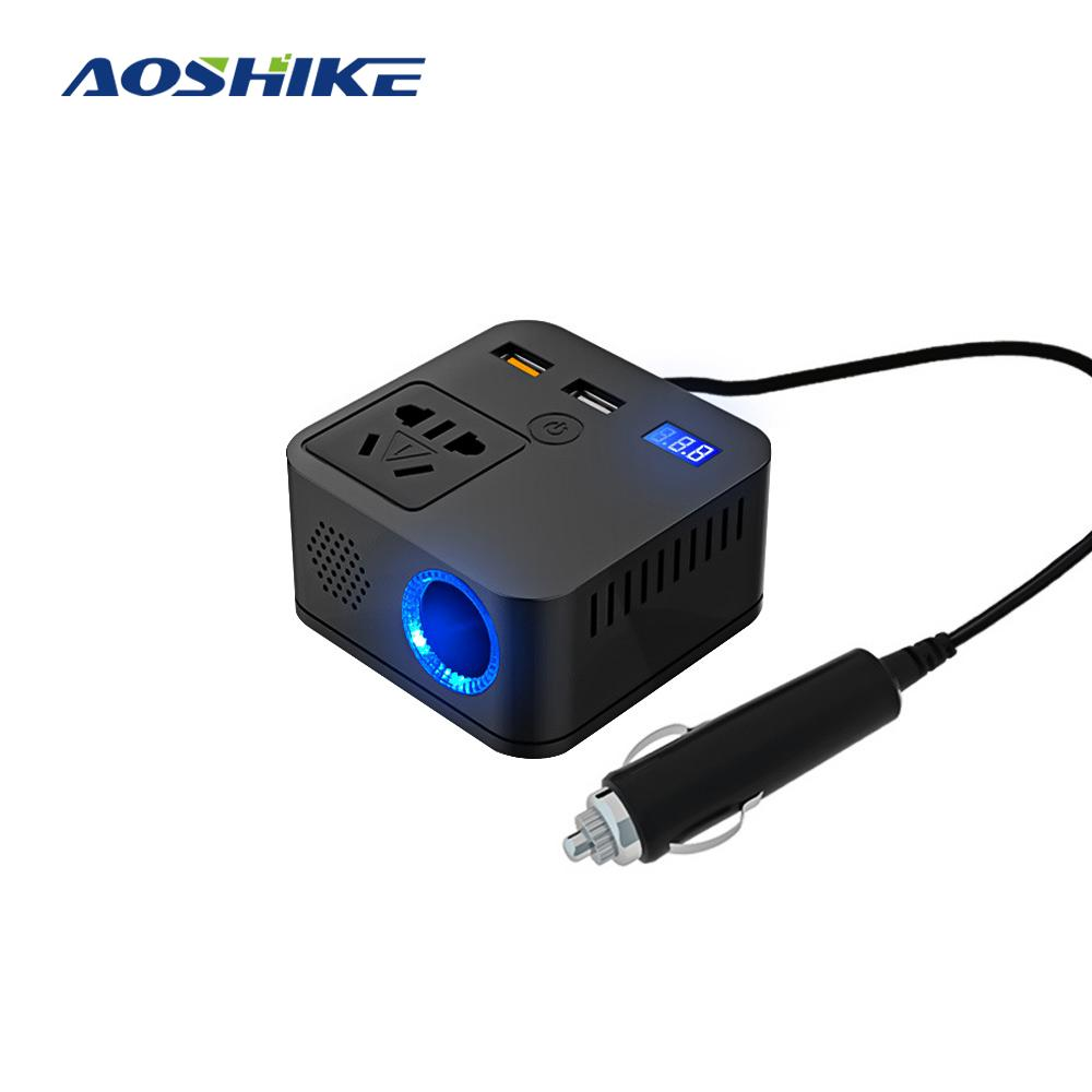 AOSHIKE Car Inverter 150W 12V DC To 220V AC Cigarette Lighter Power Supply Inverter Adapter QC3.1 Modified Sine With USB Charger