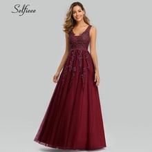 Sexy Tiefe V-ausschnitt Maxi Kleid A-linie Ärmellose Floral Appliques Tüll Frauen Kleid Damen Elegante Party Kleid Lange Jurken 2020